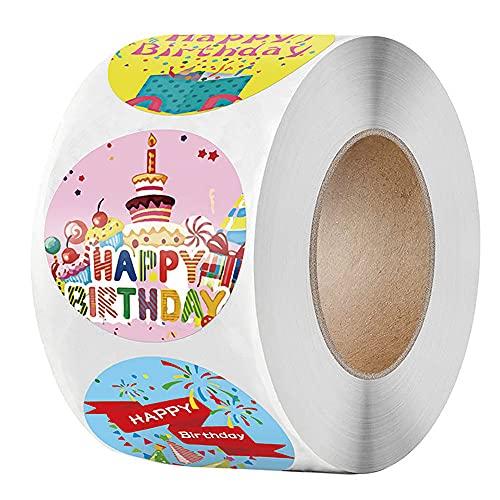 500 piezas de pegatinas redondas de feliz cumpleaños, pegatinas de colores autoadhesivas...