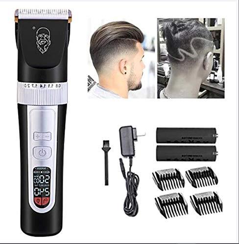 XINYIZI Haarschneidemaschinen Für Männer Cordless Professional,LCD-Haarschneidemaschine, Geschwindigkeitseinstellung,Mit Fünf Geschwindigkeiten,Mit Intelligenter Geschwindigkeit,Schwarz