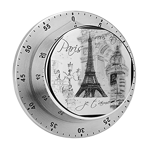 Kitchen timer, Paris France Eiffel Tower Design Magnetic chassis stainless steel alarm, used for kitchen cooking, baking, fitness exercise timer