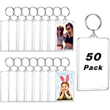 50 Pieces Acrylic Photo Frame Keychain, Personalized Insert Photo Acrylic Blank Keyring Clear Rectangle Blank Picture Keyring for DIY Keepsake, 2 x 3 Inch/ 7.6 x 5.6 cm