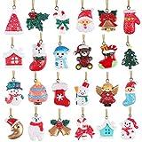 Tacobear 24pcs árbol de Navidad Adornos Decoración Navidad Colgante Charms Rellenos Calendario de Adviento Monigote de nieve Papá Noel para Navidad Decoración Manualidades Joyas