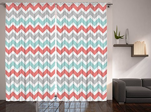 Chevron Curtains Striped Curtains, 2 Panel Set, Coral White Turquoise Gray