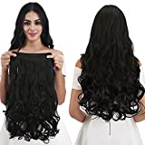 REECHO 14' 1-Pack 3/4 Full Head Curly Wavy Clips in on Synthetic Hair Extensions Hairpieces for Women 5 Clips 3.6 Oz per Piece - Natural Black