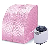 Mobile Mini steam Sauna Home Sauna Heat Cabin Seat Sauna Sauna Cabin (Pink)