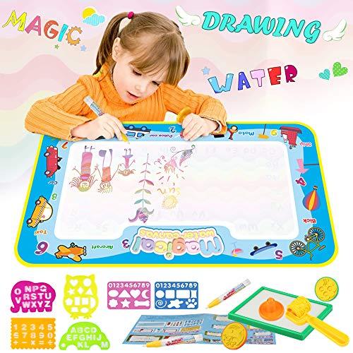 Parsion Wasser Doodle Zeichnung Matte, 63*36cm Wiederverwendbare Magic Malmatte mit 2 Stifte 3 Stempelformen 1 Raddichtung 1 Wasserschale 4 Zeichnungsvorlagen 2 Eva-Formen für Kinder