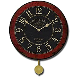 Bellingham Red Pendulum Wall Clock, Available in 5 Sizes, Whisper Quiet, Non-Ticking