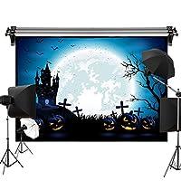 Kate 2.2x1.5m ハロウィン背景布 城の満月の背景 ホラーパンプキンの背景 バットの木の背景 子供の写真 写真スタジオ 撮影用 背景布 装飾用 無反射布 スエードの背景 カスタマイズ可能な背景