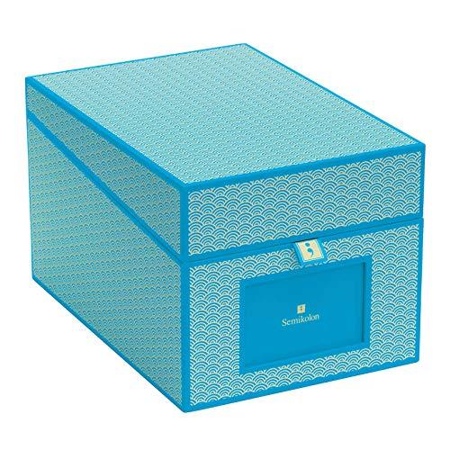 Semikolon (354866) CD und Fotobox Seigaiha-Muster turquise (türkis) - Sammel-Box und Aufbewahrungsbox mit 5 Registerkarten - 17,7 x 15,7 x 25,6 cm