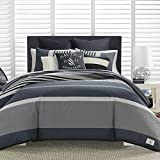 Nautica | Rendon Collection | 100% Cotton Cozy & Soft, Durable & Breathable Striped Comforter Matching Shams, 3-Piece Bedding Set, King, Charcoal