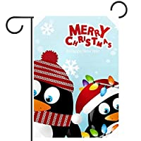 春夏両面フローラルガーデンフラッグウェルカムガーデンフラッグ(12x18in)庭の装飾のため,ペンギン メリークリスマス スノーフレーク