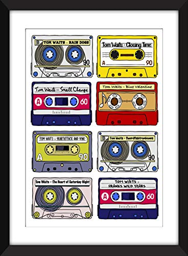 Tom Waits Albums - Unframed Retro Cassette Print - Ideal Gift for Tom Waits Fan/Ungerahmter Druck