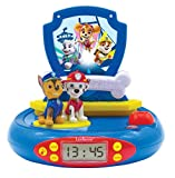 Lexibook Paw Patrol Chase Projector Radio Clock, Built-in Night Light, time Projection onto The Ceiling, Sound Effects, Battery-Powered, Blue/Red, RP500PA