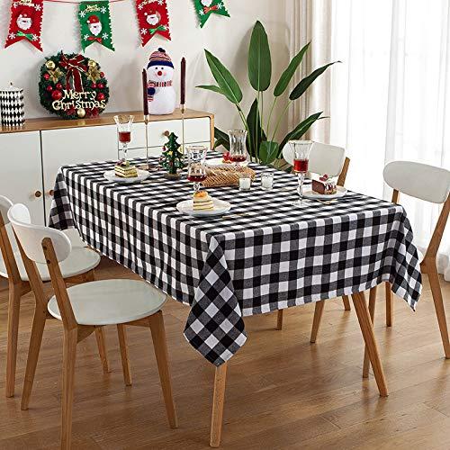 CFWL Mantel De Fiesta De Sala De Estar De Vacaciones Rectangular Hogar Mantel Decorativo De CelosíA Rojo Y Blanco TeñIdo con Hilo Impermeable Mantel Mesa Jardin Negro 100 * 140cm