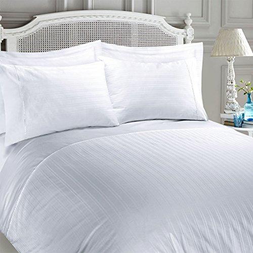 Juego de cama con funda nórdica de algodón egipcio satinado, diseño de rayas, algodón egípcio, Blanco, Doublé
