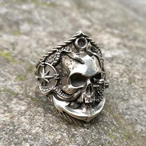 CHCO Pirate Anchor Compass Biker Rings Men's Gothic Skull Stainless Steel Ring Punk Rock Jewelry 9