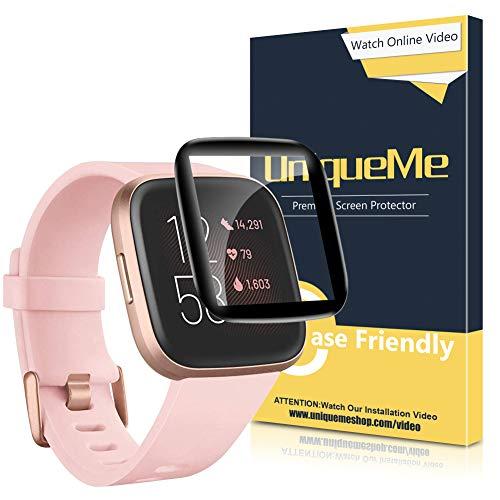 UniqueMe [4 Stück] Schutzfolie für Fitbit Versa 2, PMMA-Folie [Anti-Scratch] [High Definition] Blasenfreie Anti-Fingerabdruck Displayschutzfolie