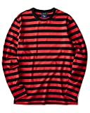 Zengjo Red and Black Striped Shirt(XL,Black&RED Wide)