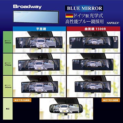 『ナポレックス 車用 ルームミラー Broadway ワイドミラー ブルー鏡 幅240㎜ 曲面鏡 高性能光学式防眩ミラー UVカット 汎用 BW-153』の2枚目の画像