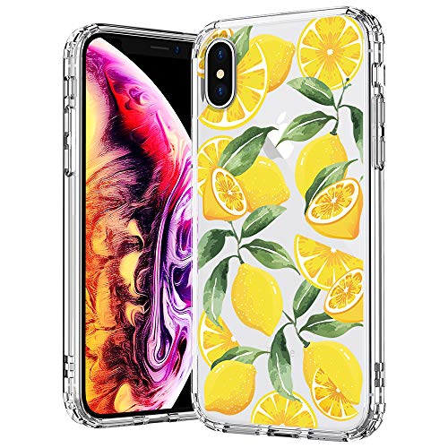 MOSNOVO Case for iPhone Xs/iPhone X, Lemon Pattern Clear Design Transparent Printed Plastic Hard Case with TPU Bumper Protective Case Cover for Apple iPhone X/iPhone Xs