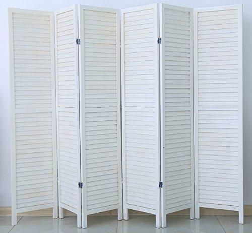 PEGANE Biombo de Madera de 6 Paneles, Efecto mercadillo teñido de Blanco - Dim: H 170 x H 240 cm