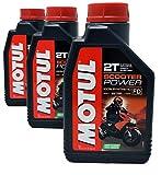 MOTUL Aceite Mezcla Scooter Power 2T 100% Sintético Ester, Pack 3 litros