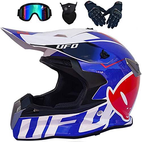 Casco Motocross Bambino, Approvato DOT e ECE Set Casco Cross Moto Adulti Uomo/Donne Mountain Bike Fuori strada Casco, Per Quad Bici BMX MTB ATV fuoristrada DH casco, UFO blu