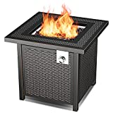 Propane Fire Pit Table with 50,000 BTU, 28'' Auto-Ignition Gas Fire Pit, Outdoor Rattan & Wicker-Look Square Fire Table with Lid, ETL Approved,Adjustable Flame,Black