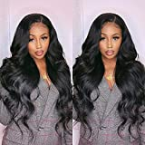 Synthetic Lace Front Wigs for Black Women 180% Density Heat Resistant Natural Hairline Wavy Wig (22 Inch, black)
