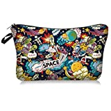 Outer Space Makeup Bag Double-sided Printed Waterproof Travel Cosmetic Bags Zipper Pouch Small Toiletry Organizer, Adorable Roomy Space Pencil Case Gifts Bag