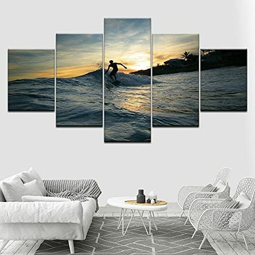 MLDN 5 Cuadros de Lienzo, Cuadros de decoración de Paredes, Cuadros de impresiónPuesta de Sol Vista al mar Ocean Surf Sports lienzos Decorativos para Decorar la Sala de Estar o el Dormitorio