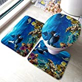 Juego de alfombrillas de baño para hombres jóvenes Snorkel Exploración de coral subacuático Conjuntos de alfombrillas antideslizantes para alfombras de baño , Funda de almohadilla para inodoro Alfom