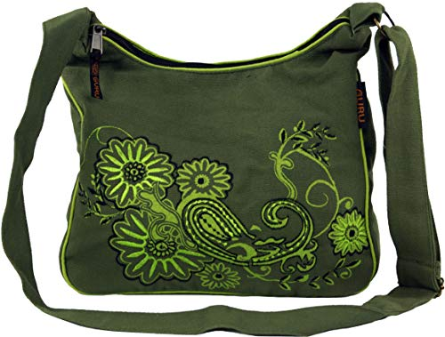 GURU-SHOP Bolso, Bolso Hippie, Bolso Goa - Verde, Unisex - Adultos, Algodón, 23x28x12 cm, Bolsas de Hombro