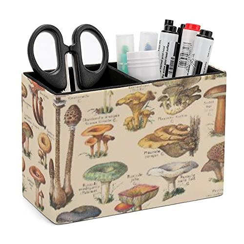 Portalápices vintage ilustración de setas PU cuero patrón escritorio organizador caja suministros de oficina caja de almacenamiento para papelería, tarjeta de visita, teléfono