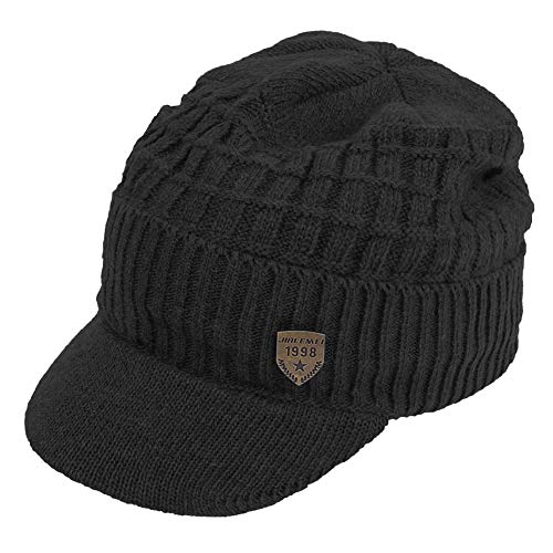 Original One Winter Wool Knitted Chunky Visor Beanie Hat with Brim Fur Lined Peaked Ski Cap (Black)