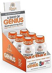 professional Genius Shot – Intelligent Energy Shot | Alpha GPC and… Smart Energy Drinks for Men and Women