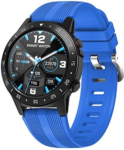 PGKCCNT Reloj Inteligente Pantalla Completa Ritmo cardíaco presión Arterial Reloj Deportivo altímetro barómetro brújula iOS Android (Color: Azul) (Color : Blue)