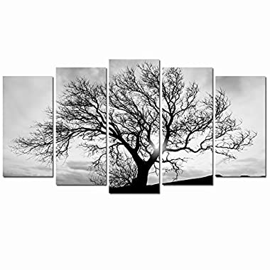 Live Art Decor - Black and White Tree Canvas Art,Great Sunset Shot Pictures Print on Canvas,Modern Home Decor,Large Size