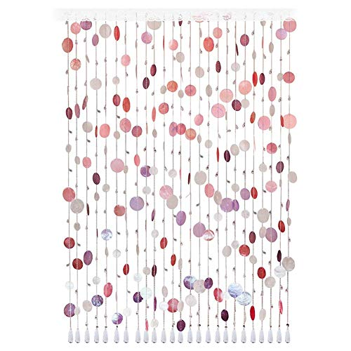 ZXL kralen gordijn met schelp glas hanger kralen voor deur kamer decoratie kamer scheidingswand slaapkamer woonkamer kast balkon (kleur: A, Maat: 30 strengen-120cmx150cm)