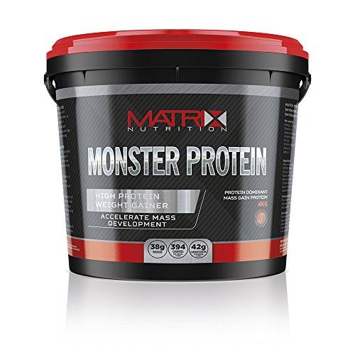 Matrix Nutrition Monster Protein Weight Gainer - Mass Gain Powder Shake (4KG, Strawberry)