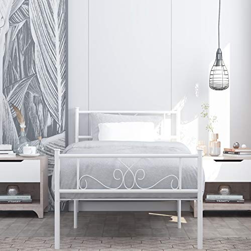 Simlife Metal Twin Bed with Storage Solid Steel Legs Great for Boys and Girls Toddler Princess Bed Frame Kid's Day Bed No Box Spring Need White