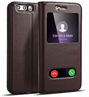 Leather Case Compatible with Huawei Honor 9,Genuine Leather Ultra Thin Flip Dual Window View Stand Feature Case Cover Phone case (Color : Brown)