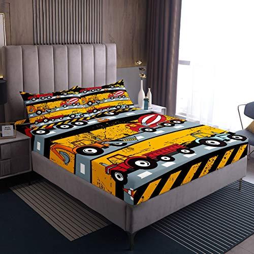 Juego de ropa de cama para niños con dibujos animados y carros excavadora para niños y niñas, color rojo y amarillo