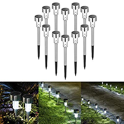Sowsun Solar Pathway Lights Outdoor,Solar Powered Landscape Garden Lights for Pathway,Lawn, Patio, Yard,Path,Walkway Decoraiton-12 Pack(Stainless Steel)