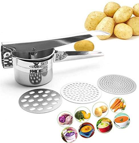 ProLeo Rostfreier Edelstahl Kartoffelpresse, mit 3 Lochscheiben Stainless Steel Kartoffelstampfer für Kartoffelpüree, Obstsäfte, Gemüsebrei Größe 27 x 9,5 x 8,8 cm