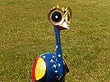 Trendshop-online Bunter exotischer Vogel Emu Reiher Paradiesvogel Teichfigur Garten 56 cm Metallvogel Skulptur Metallfigur Windlicht