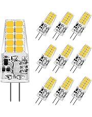 Aourow LED G4-Gloeilamp 3,5 W,Warm Wit 3000K G4 LED 350LM Vervanging voor Halogeenlampen 20W / 35W,12 V AC/DC LED G4-Pins Basislamp,Niet Flikkerend,Niet-Dimbaar,360 ° Stralingshoek,10 Stuks