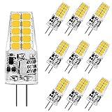 Aourow LED G4 Bombilla de Luz de 3,5 W,Blanco Cálido 3000K G4 Bombillas LED 350LM Reemplazo para Lámparas Halógenas 20W/35W,12V AC/DC,Sin Parpadeo,No Regulable,Ángulo de Haz de 360 °,10 Piezas