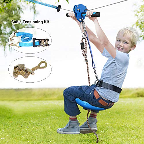 Jugader 160FT Zipline with Spring Brake, Cable Tensioning Kit, Detachable Trolley, Adjustable Safe Belt & Seat and 304 Stainless Steel Cable