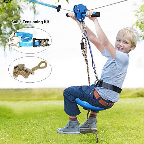 Jugader 160FT Zipline Kits for Backyard with Spring Brake, Cable Tensioning Kit,...
