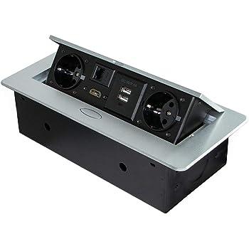 Emuca - Regleta multienchufe retráctil para empotrar en la Mesa, Base de enchufes multiconector (Enchufe EU Tipo F, USB, RJ45 y HDMI), 265x120mm, Gris Metalizado: Amazon.es: Bricolaje y herramientas